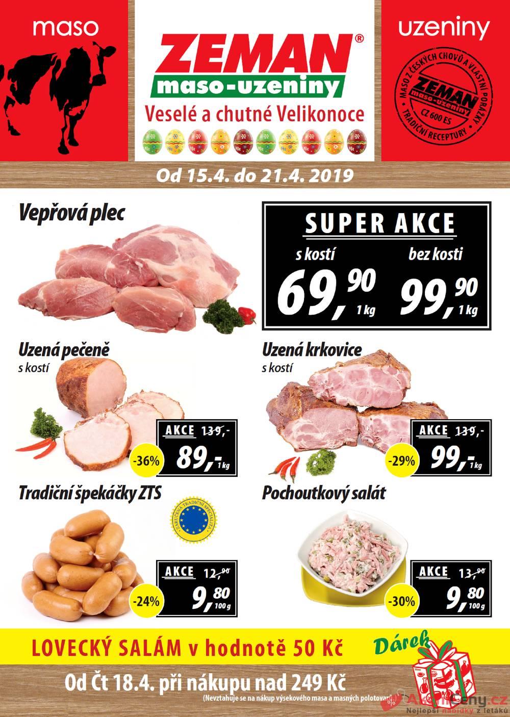 Leták ZEMAN maso-uzeniny - Zeman maso-uzeniny 15.4. - 21.4.  - strana 1