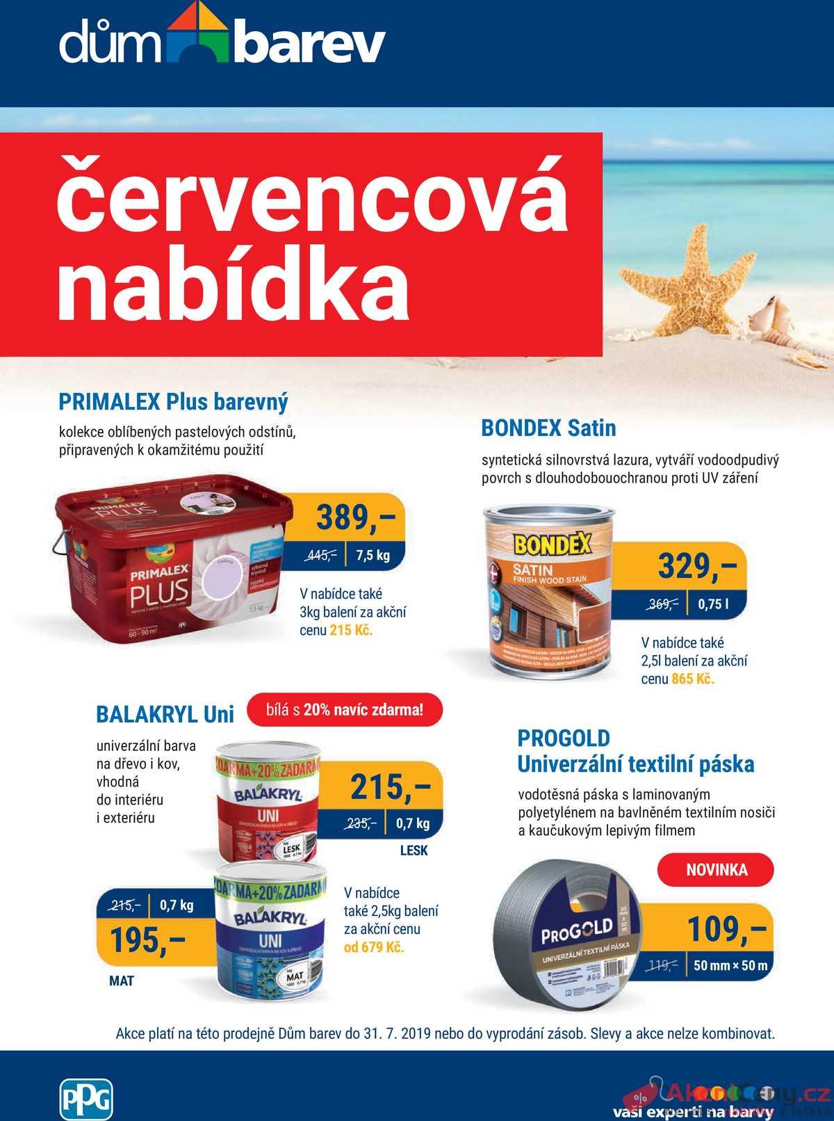 Leták Dům barev - Dům barev od 1.7. do 31.7.2019 - strana 1
