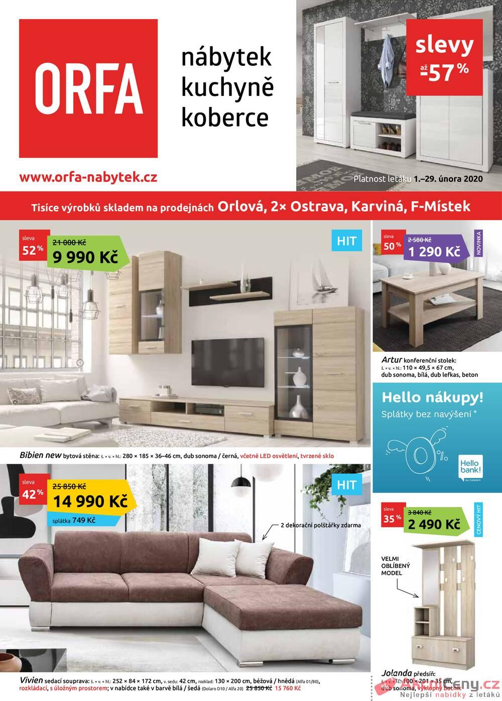 Leták Orfa Nábytek - Orfa Nábytek od 1.2. do 29.2.2020 - strana 1