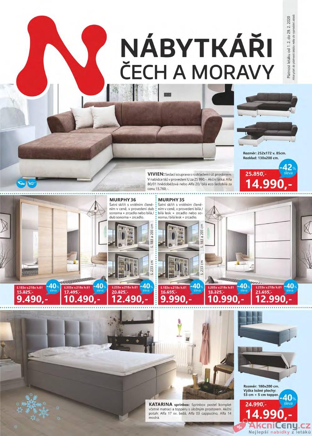 Leták Nábytkáři Čech a Moravy - Nábytkáři Čech a Moravy od 1.2. do 29.2.2020 - strana 1