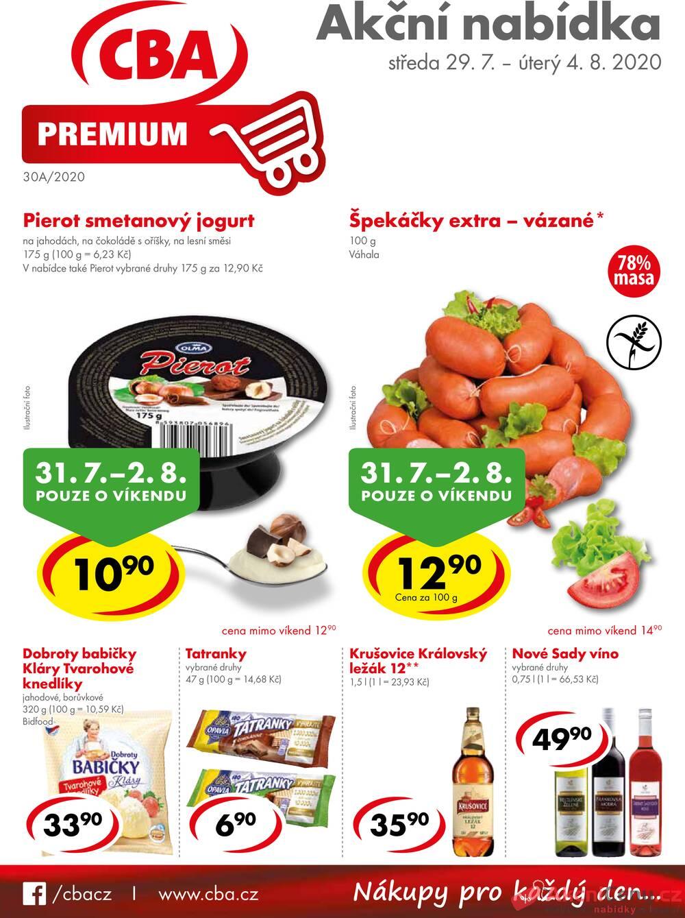 Leták CBA prodejní družstvo - CBA Premium od 29.7. do 4.8.2020 - strana 1