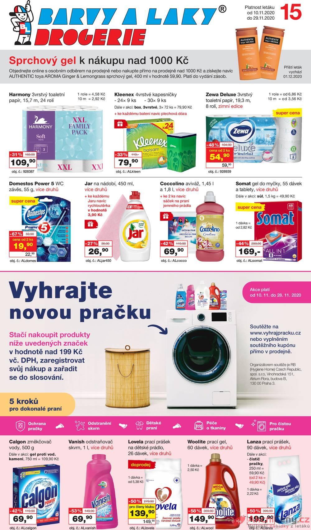 Leták Barvy a laky drogerie  - Barvy a laky drogerie od 10.11. do 29.11.2020 - strana 1