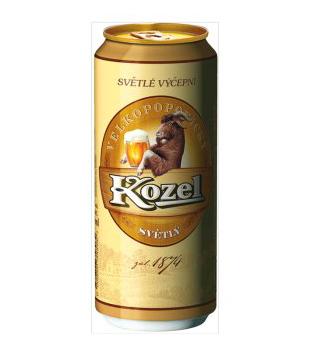 Velkopopovický Kozel, světlé výčepní pivo (plechovka)