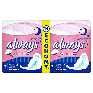 Always Sensitive Ultra night hygienické vložky 14 ks