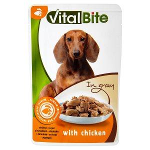 VitalBite Kompletní krmivo pro dospělé psy s kuřecím v omáčce 85g