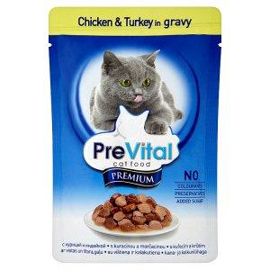 PreVital Premium Kompletní krmivo pro dospělé kočky s kuřecím a krůtím 100g