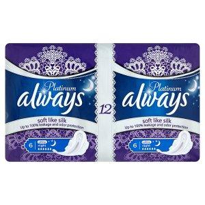 Always Platinum Ultra night hygienické vložky s jemnou vůní 12 ks