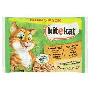 Kitekat menu ve šťávě krmivo pro dospělé kočky 4 x 100g, vybrané druhy