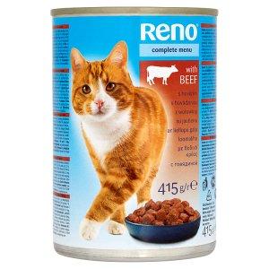 Reno Kompletní krmivo pro dospělé kočky - kousky s hovězím v omáčce 415g
